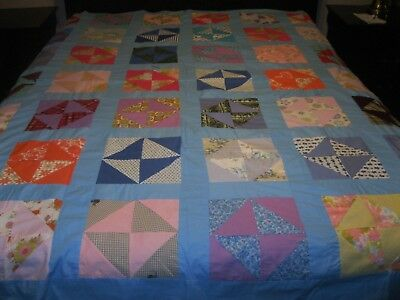 Hand stitched  and Machine sewn VINTAGE HANDMADE QUILT TOP 83 x 72