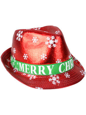 bc5ba1ecd ADULTS MERRY CHRISTMAS Winter Snowflake Red Fedora Hat Costume Accessory