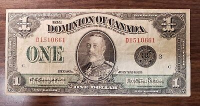 "1923 $1 One Dollar Dominion Of Canada Banknote ""Black Seal"""