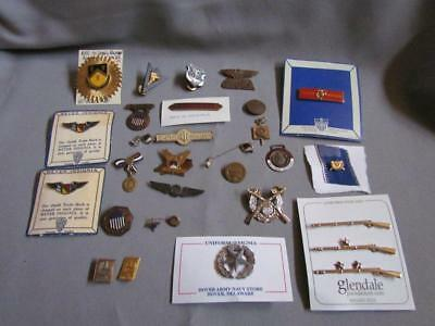 Vintage ROTC Lot of Military Pins some Sterling Silver