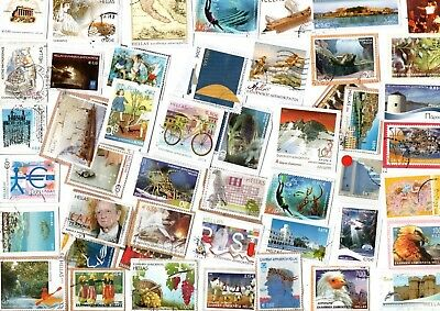 A LOVELY MIX OF MOSTLY RECENT EURO COMMEMORATIVE STAMPS FROM GREECE inc HVs