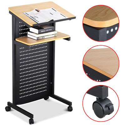 Portable Wheeled Lectern Rolling Podium Mobile Stand up Desk w/Storage Shelf