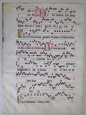 Original Authentic c. 1500s Antiphonal Vellum Sheet Music Double-Sided Latin