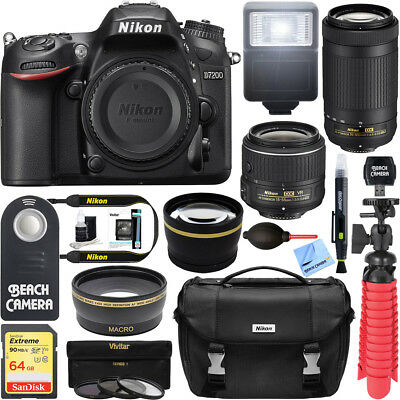 Nikon D7200 24.2MP DSLR Camera with 18-55mm & 70-300mm Lens Deluxe Accessory Kit
