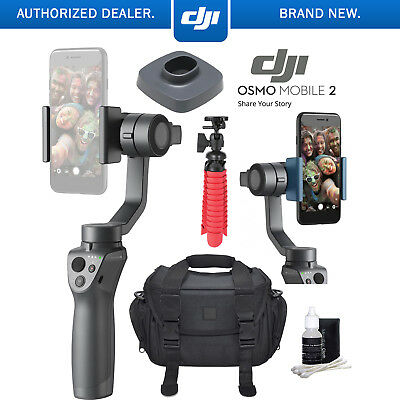 DJI Osmo Mobile 2 Smartphone Gimbal Stabilizer Bundle w /Charge Base and Tripod