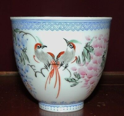 Chinese Eggshell Porcelain Famille Rose Hand Painted Cup with Box Signed