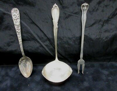 Mixed Lot Of (3) Sterling Silver Flatware Ladle+ Olive Fork + Spoon 80 g