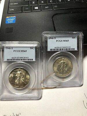 1946-S, 1946-D Walking Liberty Half DollarS PCGS MS 65 Silver 50-Cents 90% COINS