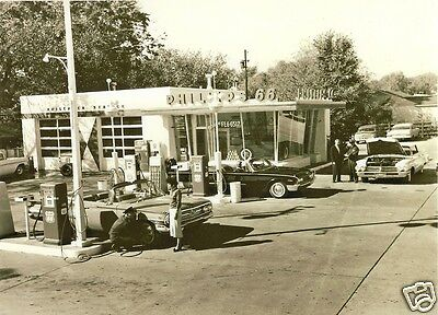 "PHILLIPS 66 GAS FULL SERVICE STATION PUMPS EARLY 60's CHEVY FORD RAGTOPS 5""x7"""