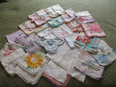 Lot 25 Vintage Floral & Print Handkerchief Hankies Applique Cotton Silk