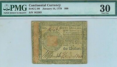 January 14, 1779 $60 Continental Colonial Currency FR#CC-99 : PMG 30