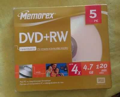 NEW SEALED Memorex DVD+RW 4X |4.7GB 120 minute Pack of 5 Re-writable Data Media