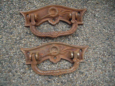 Antique French Cast Iron  Coffin Handle -2pc