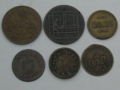 Collection / Lot of 6 19thC and later Tokens, Wines Canada etc