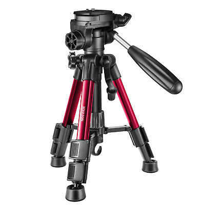Neewer Red Mini Travel Tabletop Camera Tripod 62cm with 3-Way Swivel Pan Head