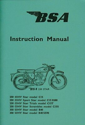 BSA Instruction Manual C15 B40 Sports Star Trial Scrambles 1964-65 Side Points