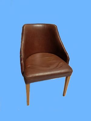 Commercial Grade Brown Leather Tub Chairs