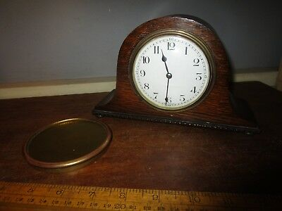 Antique French Mantel Clock.Wood cased clock with French round brass movement