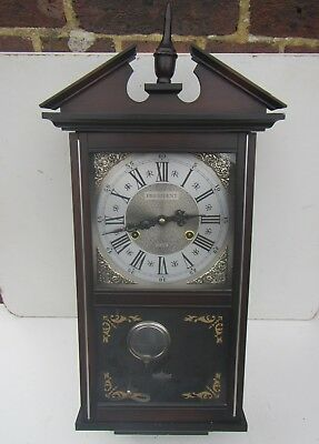 Vintage 'President' 31 Day Wooden Cased Wall Clock with Pendulum