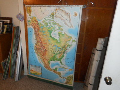 North America Old School Map Canvas Backed Great Shape Pull Down