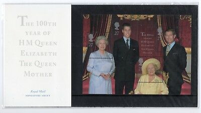 GB 2000 Queen Mother 100th Presentation Pack. Miniature sheet. VGC. stamps mum