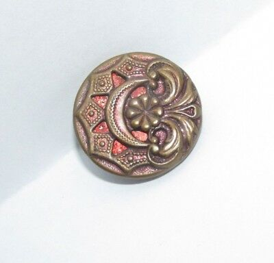 """Antique painted red Metal .68"""" Art Deco copper button Half Moon OME cut steel"""