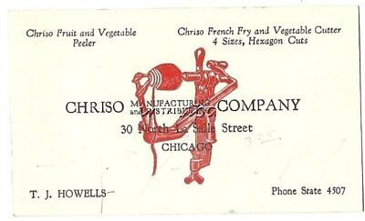 Chriso Fruit Vegetable Peeler Vintage Business Card Chicago IL French Fry Cutter