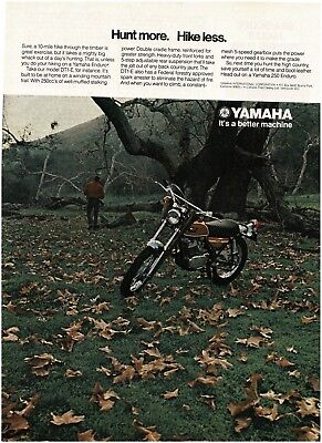 1971 YAMAHA DT1-E Enduro Motorcycle in field of autumn leaves VTG PRINT AD