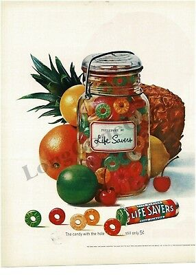 1962 LIFE SAVERS Five Flavor Candy in glass top jar VTG PRINT AD