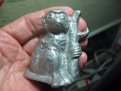 "Vintage 2-1/2"" Cast Aluminum MONKEY SITTING HOLDING TREE Bottle Opener Nevr Used"