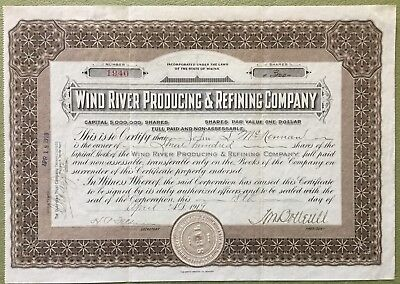 Antique 1919 Wind River Producing & Refining Co. Oil Shares Parchment Maine Seal