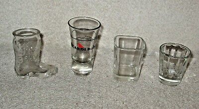 1 lot of 4 Liquor Brands Shot Glasses