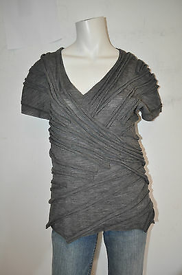 MARC JACOBS  size 10 gray melange short-sleeve pleated  top New $595 nwt