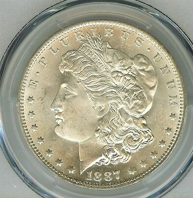 1887-O Morgan Silver Dollar  Pcgs & Cac 64+ Bright White!