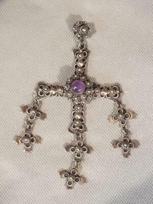 Vintage Yalalag Indian Mexican Made Sterling Silver Wedding Cross