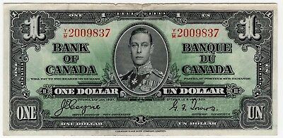 1937 Bank Of Canada One 1 Dollar Bank Note Ym 2009837 Nice Bill