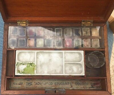 Antique Reeves Mahogany Watercolour Paint Box - N.29 The Advanced Student's