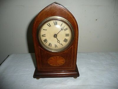 Nicely Inlaid, Lancet Shape Mantle Clock in Very Good Condition & Working Order.