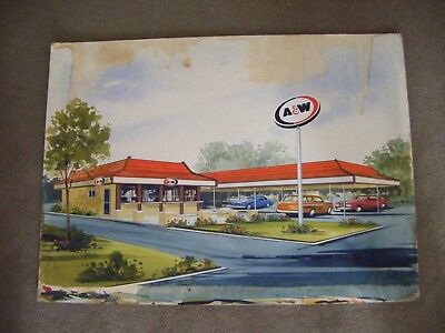 """Vintage 1960's A & W Root Beer Drive-In Restaurant Watercolor Painting 22' x 30"""""""