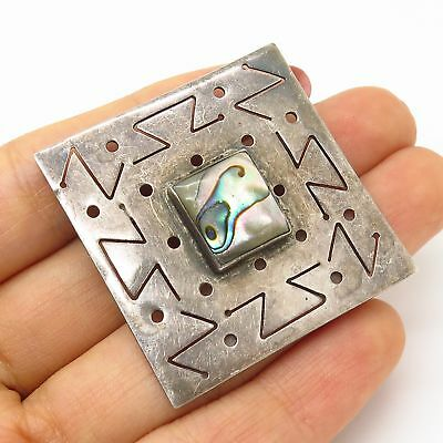 Vtg Mexico Danny's 925 Sterling Silver Abalone Shell Tribal Motif  Pin Brooch