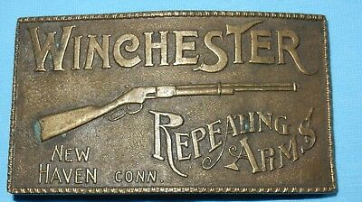 Fabulous Vintage Brass Belt Buckle Winchester Repeating Arms New Haven Conn Usa