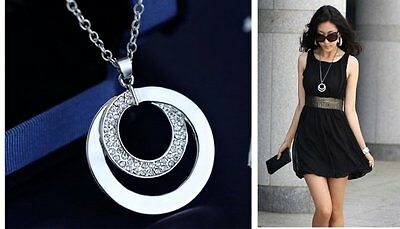 Fashion Crystal Rhinestone Silver Long Chain Pendant Necklace Gift Jewellery New