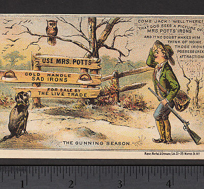Mrs Potts Sad Iron Owl Hunting Dog Gun Season Victorian Advertising Trade Card