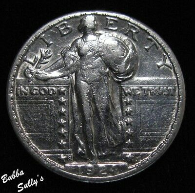 1924 S Standing Liberty Quarter <> Clashed Dies <> EXTREMELY FINE