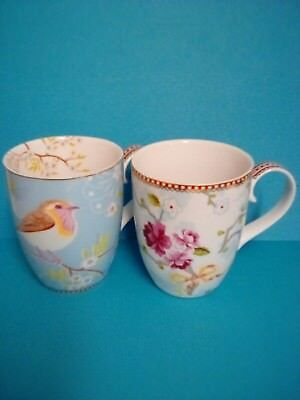 Two Pip Studio Ceramic Mugs - Early Bird Blue & Floral