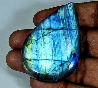 111.00Cts. Natural Multi Labradorite Cabochon Gemstone Pear;#3690