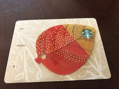 2014 Starbucks Coffee Mini Fall Leaf Leaves Key Ring Gift Card B