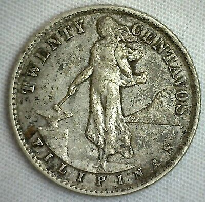 1938 M Philippines 20 Centavos Silver 20 Cents Coin You Grade It KM 182