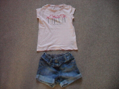 girls denim shorts and top from next age 3-4 years