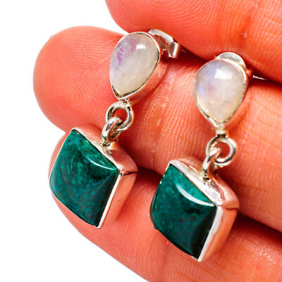 "Chrysocolla, Moonstone 925 Sterling Silver Earrings 1"" Ana Co Jewelry E368138"